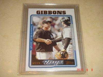 美國職棒 Blue Jays Manager 總教練 John Gibbons 2004 Topps #296  球員卡
