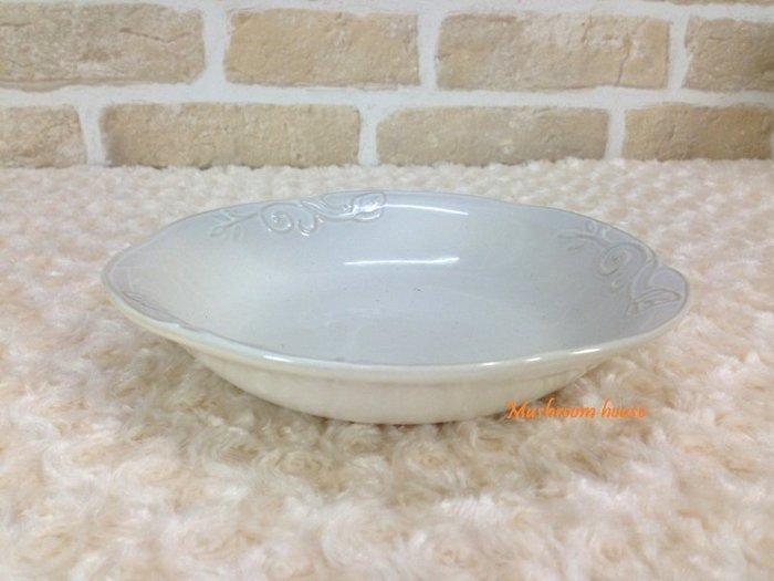 點點蘑菇屋 義大利WALD經典立體雕花大地色系列手繪高溫陶瓷(駝/白色)湯盤 水果盤 盤子 淺盤 現貨