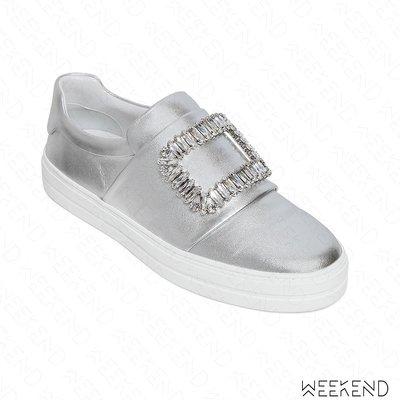 【WEEKEND】 ROGER VIVIER Sneaky Viv 皮革 鑲鑽 休閒鞋 懶人鞋 銀色