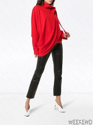 【WEEKEND】 MATERIEL 特殊剪裁 不對稱 不規則下擺 長袖 上衣 紅色 18秋冬