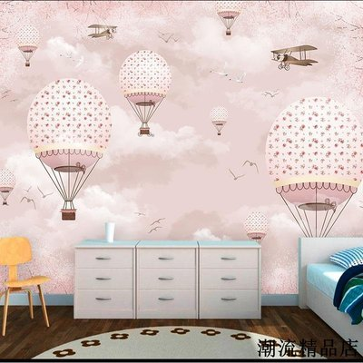 熱氣球兒童房壁紙男孩房無縫訂製墻布客廳壁畫臥室溫馨墻紙無紡布