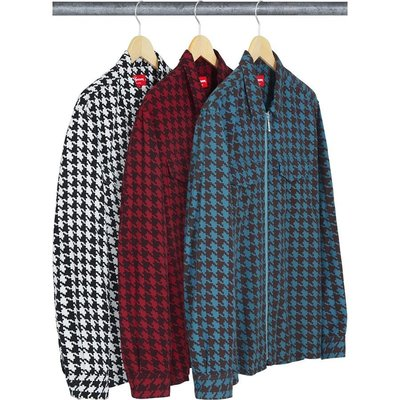 【紐約范特西】預購   Supreme FW18 Houndstooth Flannel Zip Up Shirt 拉鍊