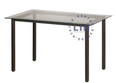 【品特優家具倉儲】824-06餐桌洽談桌道奇烤黑腳玻璃餐桌2.5*4尺