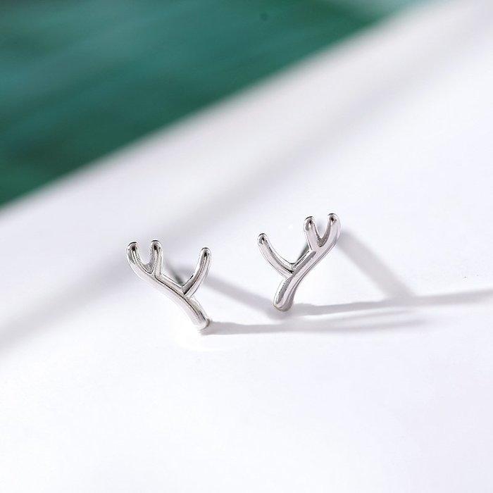 925純銀鹿角耳釘女簡約小巧氣質韓國個性學生養耳洞圣誕耳飾