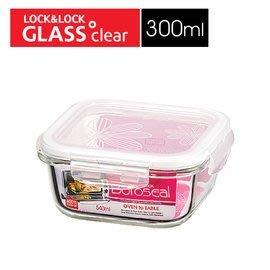 LLG203 樂扣樂扣 LOCK 耐熱玻璃保鮮盒正方形300ML/白 玻璃保鮮盒 樂扣玻璃保鮮盒 樂扣耐熱玻璃保鮮盒
