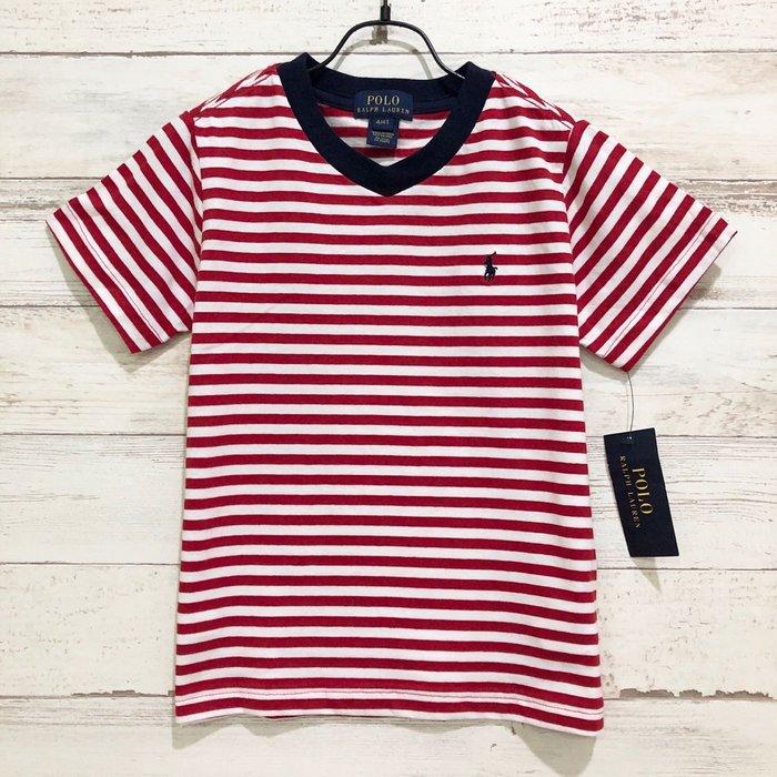 Maple麋鹿小舖 美國購買童裝品牌POLO RALPH LAUREN 男童V領條紋LOGO短T * ( 現貨4號 )