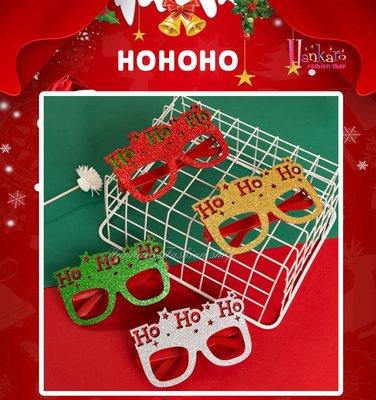 ☆[Hankaro]☆歐美創意聖誕節裝扮道具閃亮聖誕HOHOHO文字造型眼鏡