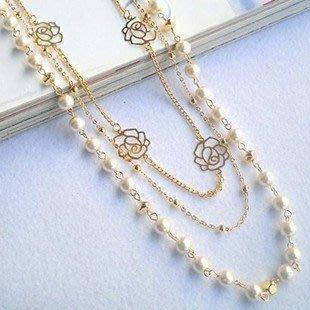 熱賣批發館 J-012 長款毛衣鏈花朵多層珍珠項鏈玫瑰花女衣服配飾長項鏈