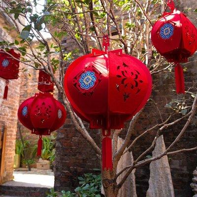 LANTERN 新年裝飾用品春節無紡布大紅燈籠掛飾元旦室內戶外布置吊件燈籠