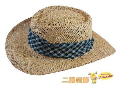 ☆二鹿帽飾☆ 百貨公司專櫃新款 中性 英倫風. 藍色雙格. 高級捻草 高爾夫球草帽-本色