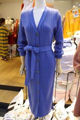 ♥現貨快速出貨♥ 氣質優雅針織排扣綁帶洋裝/外套兩穿(藍色現貨一) 正韓  早秋