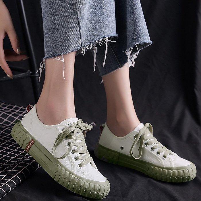 新款帆布鞋女時尚休閒女鞋波浪女鞋韓版潮鞋舒適百搭8181