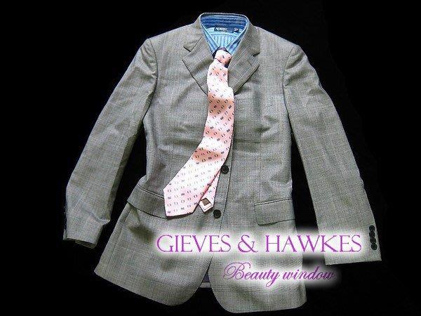 *Beauty*GIEVES &HAWKES淺灰色細格紋西裝外套+西褲 約九成新 成套低售11800元