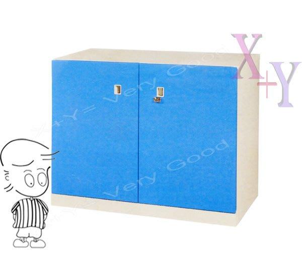 【X+Y時尚精品傢俱】藍色74 雙開門下置式鋼製公文櫃.理想櫃.適合學校. 公司.台南市家具