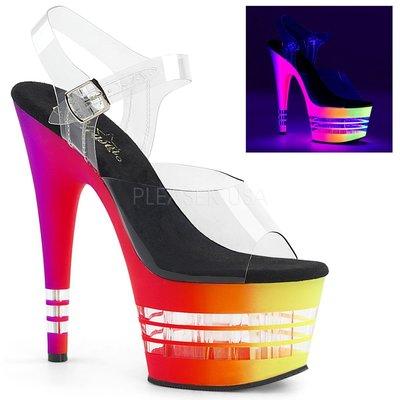 Shoes InStyle《七吋》美國品牌 PLEASER 原廠正品透明漸層霓虹厚底高跟涼鞋 出清『黑橘紅黃色』