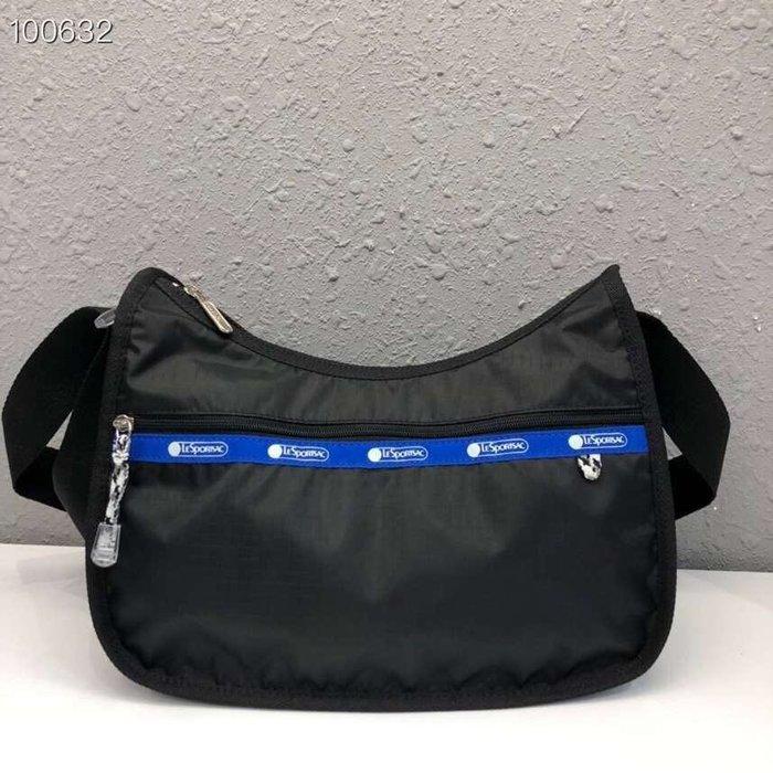 Lesportsac  黑藍拼色 側肩背/斜背/手拿 降落傘防水材質 休閒款 7520 限量優惠
