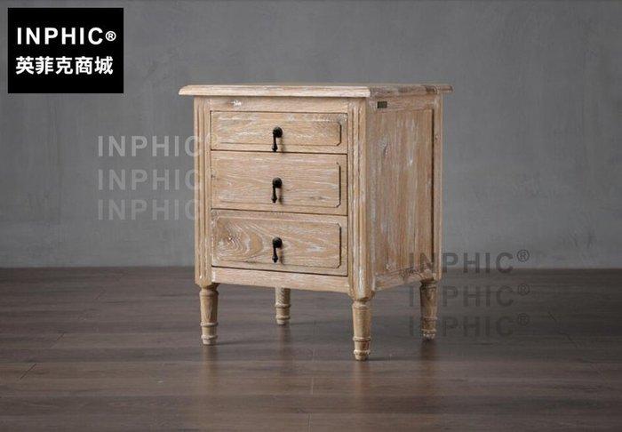 INPHIC-法歐式美式鄉村復古做舊橡木三抽床頭櫃儲物邊桌沙發櫃_S1910C