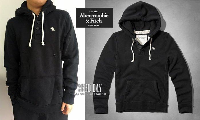 【零時差】A&F Abercrombie&Fitch Fish Hawk Cliff Hoodie麋鹿亨利連帽t-黑色