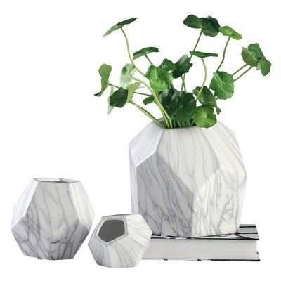 【凱洛詩家飾】現貨 大理石紋陶瓷花瓶 現代簡約創意家居客廳餐廳插花幾何花器 裝飾擺件 四件組