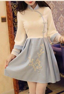陛下蘭他惜秋新款原創復古旗袍針織浮雕刺繡毛呢收腰顯瘦連身衣裙