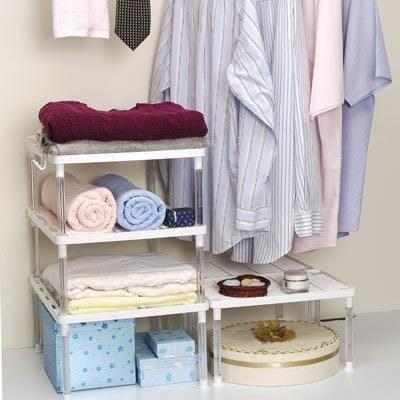 婕芙貨舖_居家生活收納嚴選【萬用收納架】廚房及流理台,衣櫥增加收納空間,可重疊使用