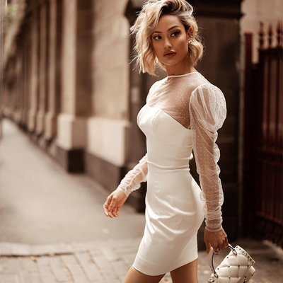 蘇蘇家Dress patchwork wrap breast transparent gauze pearl sleeve