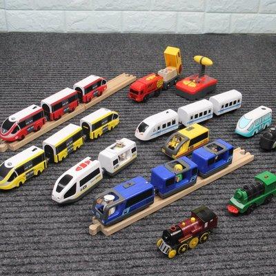 電動火車頭和諧號小火車兼容宜家米兔木質火車軌道3兒童木制玩具