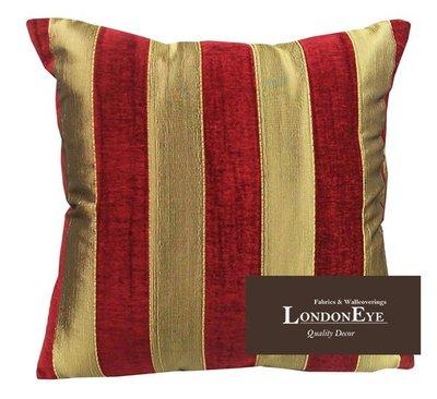 【 LondonEYE 】歐式宮廷新古典 華麗雙色X 寬版設計X雪尼爾  直條紋 抱枕/腰枕 飯店/樣品屋