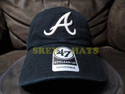 [SREY帽屋][預購]47 Brand CLEAN UP MLB 亞特蘭大勇士 黑底白字 經典LOGO 棒球帽 老帽