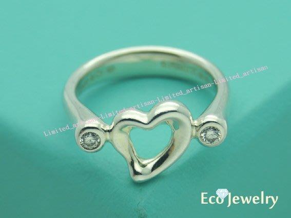 《Eco-jewelry》【Tiffany&Co】設計師款open heart 鑲雙鑽純銀925戒指~專櫃真品已送洗