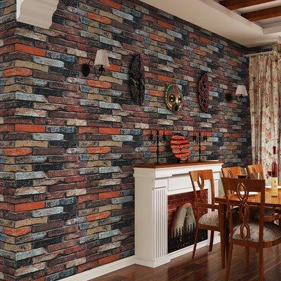 壁紙 復古 墻紙 唯美 簡約 3D磚紋墻紙仿古磚頭磚塊墻磚中式懷舊餐廳飯店背景墻復古酒吧壁紙