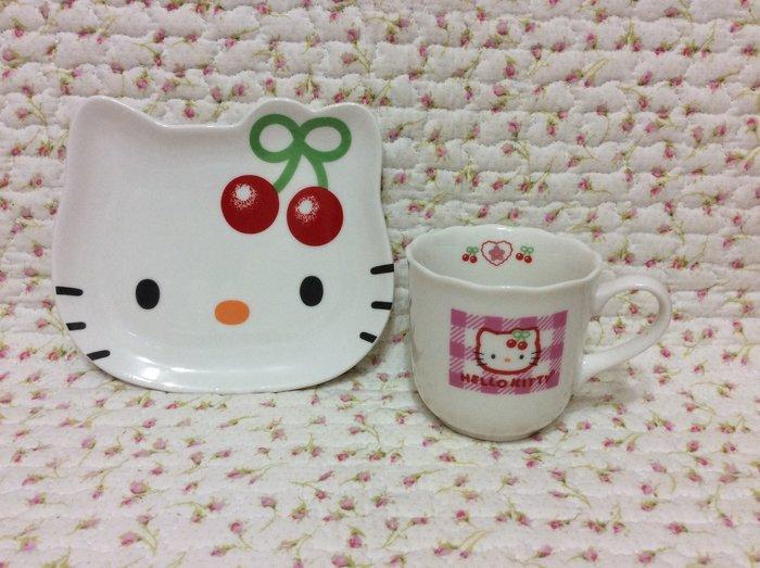 Sanrio hello kitty 櫻桃臉型咖啡杯盤組《日本製.1999年商品》收藏特價出清