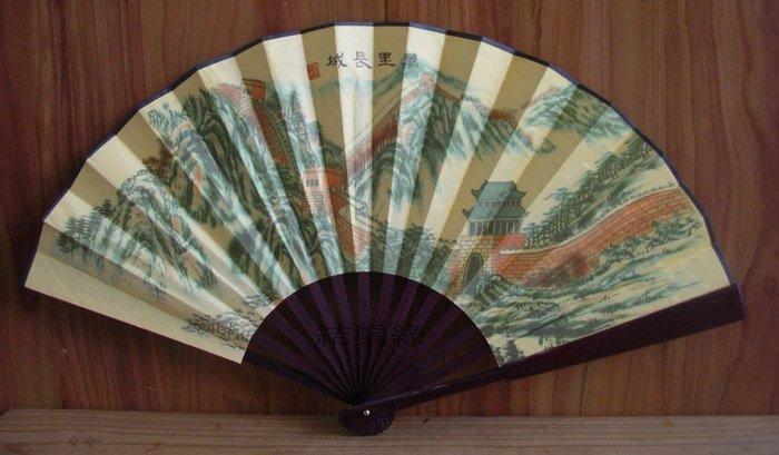 【結扇緣】 中國風山水古典扇 中國風仕女摺扇 竹製折扇 復古扇 藝術扇 萬里長城