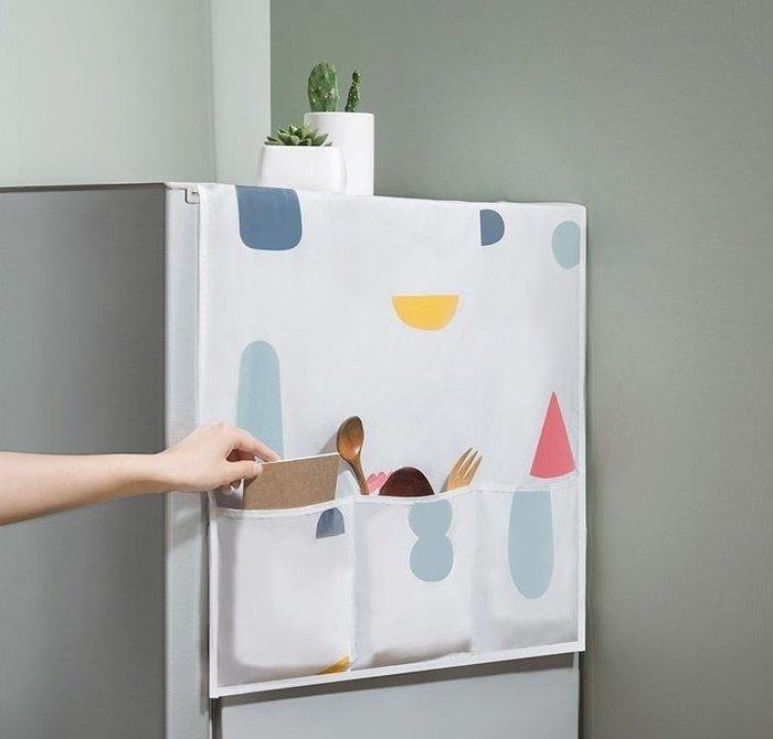【冰箱罩收納袋】PEVA印花冰箱上6格置物袋 櫥櫃蓋布巾防塵袋 洗衣機防塵罩 防塵套☆精品社☆