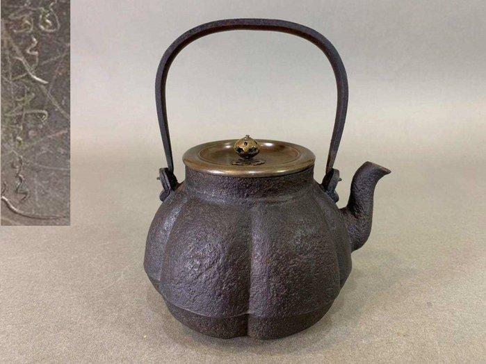 『華寶軒 』日本茶道具 明治時期 龍文堂造 南瓜形老鐵壺 1000c.c