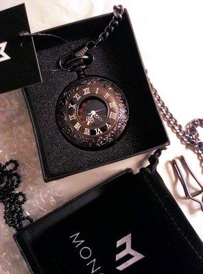 日本正版 MONOZY 復古 雕刻 項鍊 懷錶 antq-black-nl 黑色 附專屬收納盒和收納袋 日本代購