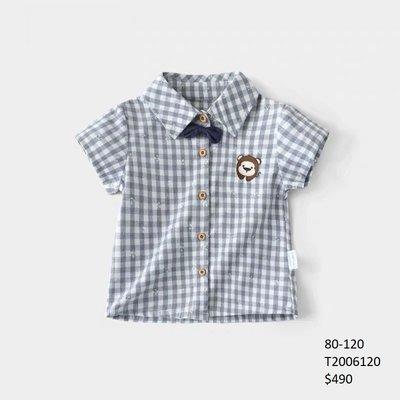 【Girl】 JC BABY 可愛猴子格紋短袖襯衫(藍色) #T2006120
