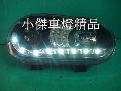 ☆小傑車燈家族☆全新vw 福斯golf 4代 golf-98-03年 golf4 R8日行燈DRL魚眼大燈+led方向燈
