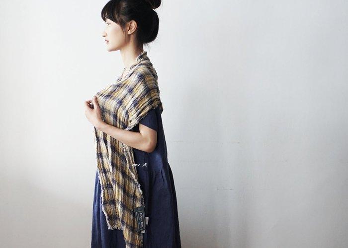 日本 Lino e Lina 高品質 自然系 全麻 麻製 透氣 四季皆適用 格紋 圍巾