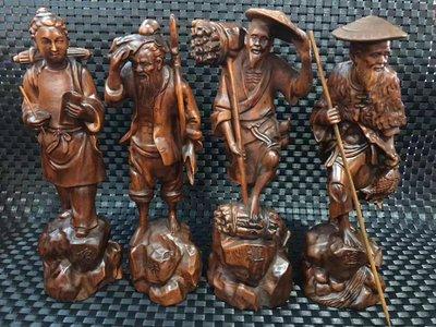收來的老黃楊木精雕漁樵耕讀一套擺件高21厘米 直徑7厘米zzz