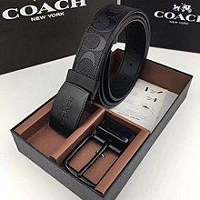 【小怡代購】 全新COACH 12026 美國正品代購新款經典雙面可用男士皮帶 配兩款皮帶頭 超低直購