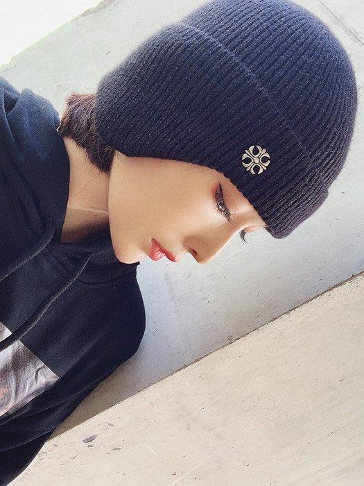 【鈷藍家】原創設計獨特小眾帽飾秋冬新品十字架針織護耳帽保暖冷帽街頭針織兔絨毛線帽滑雪帽子