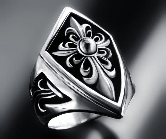 【創銀坊】聖騎士 盾牌 十字架 925純銀 戒指 戒子 鳶尾花 克羅心 龐克 搖滾 龍 哈雷 星星 耶穌(R-7804)
