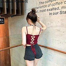 Littleluck~女裝夏季氣質性感漏背交叉綁帶短款吊帶打底內搭小背心女上衣百搭外穿