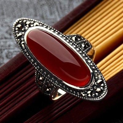 【多幸運】925純銀戒指紅瑪瑙個性食指環時尚誇張長款戒女士新款