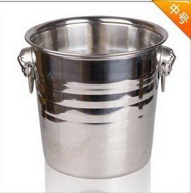 【圓形耳柄不銹鋼冰桶-中號-5L-口徑20*高21cm-1套/組】香檳桶 西餐廳 酒吧 KTV專用-7501009
