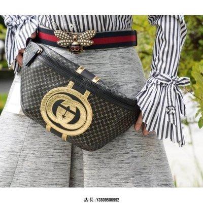 Gucci x Dapper Dan 黑金 金GG 皮革 拉鏈 腰包 536416 現貨二手