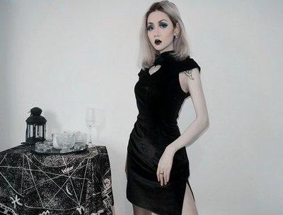 【黑店】原創設計 訂製款愛心絲絨改良旗袍 愛心暗黑旗袍 中國風改良旗袍 個性旗袍宴會洋裝MB218