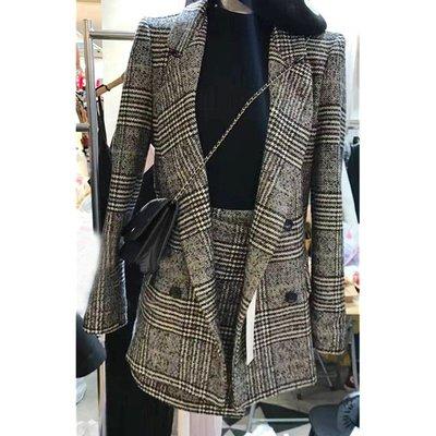 OL小資通勤學院職場款 千島格紋長袖西裝女外套+包臀裙子套裝 網紅網美女神霸氣款西裝外套+裙子 S~3XL