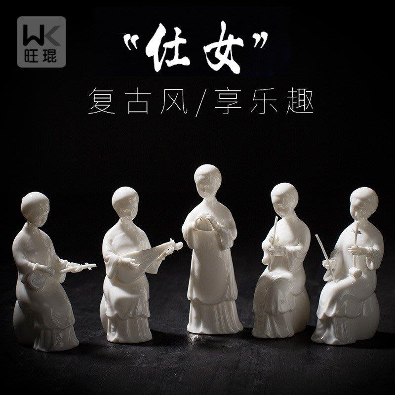 一鳴驚人っ新中式古典民國仕女二胡琵琶樂隊女人物擺件民國風女裝店櫥窗裝飾wk-146